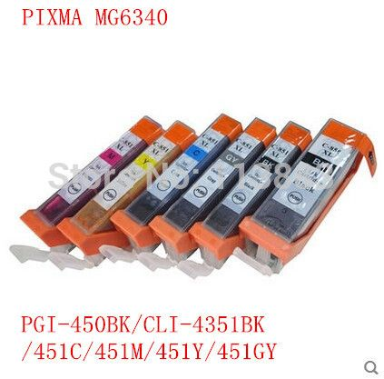 18 ink PGI-450 BK CLI-451 BK C M  Y GY 6 COLOR compatible ink cartridge for canon PIXMA MG6340 MG7140 iP8740 MG7540 printer