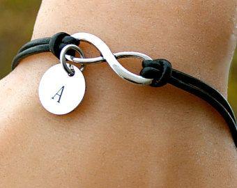 CUERO genuino INFINITY pulsera cordón de cuero, personalizar, Karma, amistad, pulsera, joyería del encanto infinito, regalo para ella,