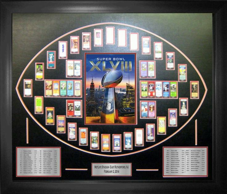 "A must have for any NFL fan!   This piece can make for a great individual gift, or prize/raffle incentive for your best  Super bowl party yet.  It is the perfect fit for the ideal man cave. :)  They are a deluxe version of the ""History Of The Super Bowl Ticket Piece"".    Included within the piece are replicas of each ticket from every Super Bowl ever played. Centered by the cover of this years Super Bowl Program , with two plates (one on each side) with descriptions of each team and scores…"