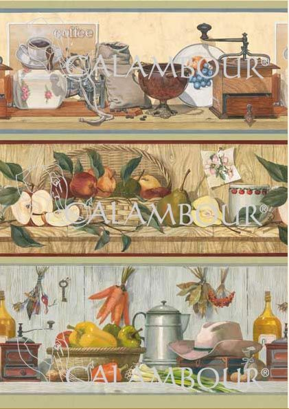 Pattern : kitchen shelves with apple and pears basket, cup, basket with red, green and yellow sweet peppers, carrots, coffee, nuts, grey hat, oil bottle