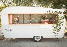 Vintage trailer bar.  I want one!