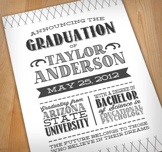LETTERPRESS Printable Graduation Announcement via Etsy