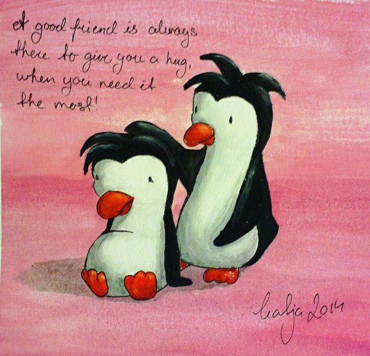 A good friend, Penguins. By Katja Zweiniger. hipphapphopp.com