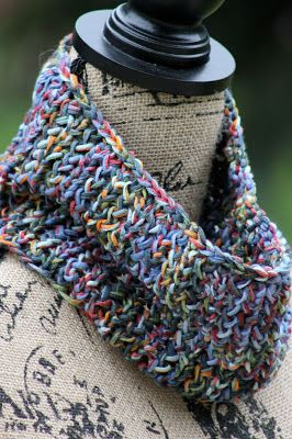 81-Yard Cowl: Made with 81 yards of chunky weight yarn and size US 10.5 needles.