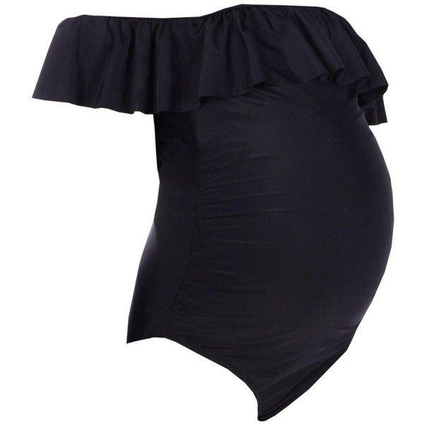 Boohoo Maternity Daisy Bardot Ruffle Swimsuit | Boohoo ($25) ❤ liked on Polyvore featuring maternity
