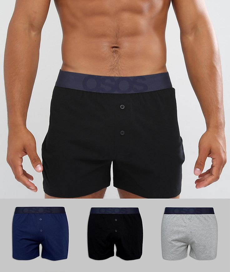 ASOS Jersey Boxers In Black Navy & Gray With Branded Waistband 3 Pack