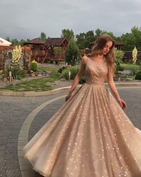 Long Sequined Prom Dresses 2019, Princess Open Back Formal Evening Dresses Champagne