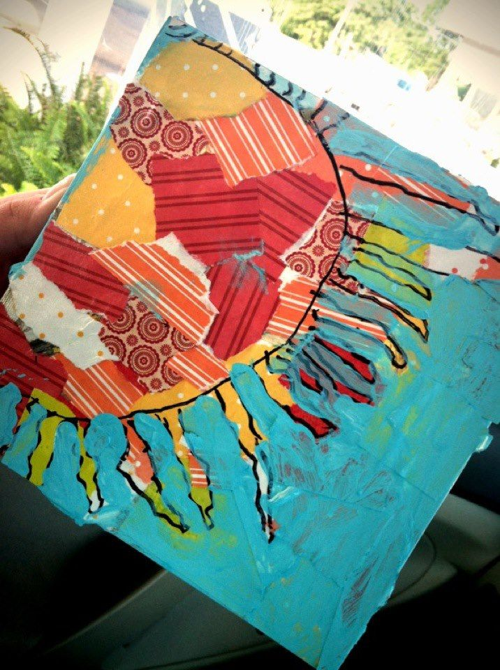 Charlie's Sun,,,adaptive art:  collage background, cooridinating colors with what they are painting on top.