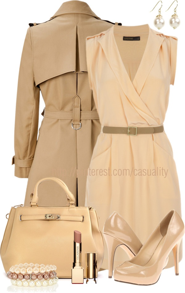 """""""Belted Peach Dress & Pearls"""" by casuality on Polyvore"""