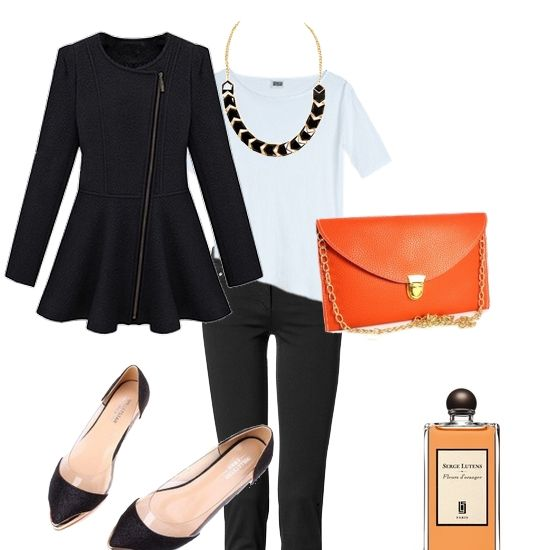 Autumn outfit.  orange bag and black glitter shoes - www.broshka.pl