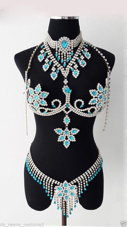 BRA7 Stripper Burlesque Large Crystal Bra Belt Skirt by DaNeeNa