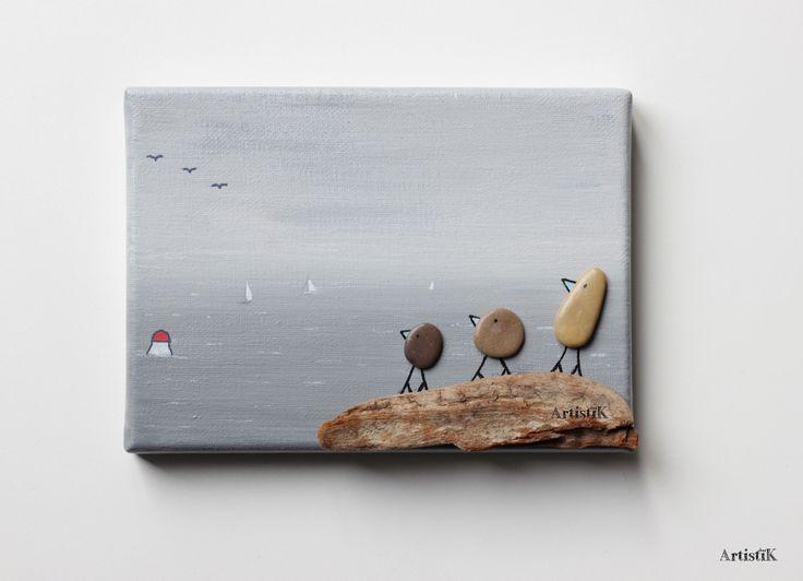Tableau galets bois flotté mer oiseaux fond gris – Tableau famille oiseaux mer grise - Dessin humoristique : Décorations murales par artistik