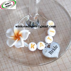 Wedding Heart & Frangipani Wine Glass Charm Personalised Hen Party Gift Idea | eBay