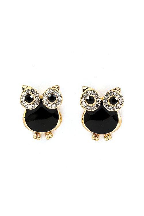 Jet Black + Gold #Owl Earrings