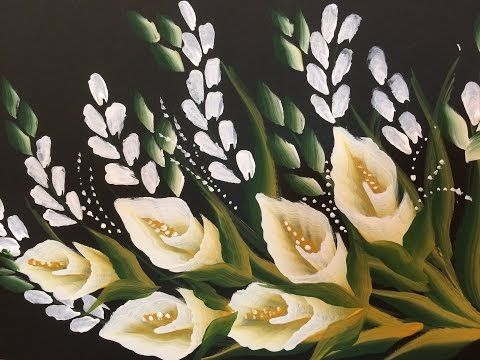 Acrylic Painting- One Stroke Technique Floral with size 50 brush - YouTube