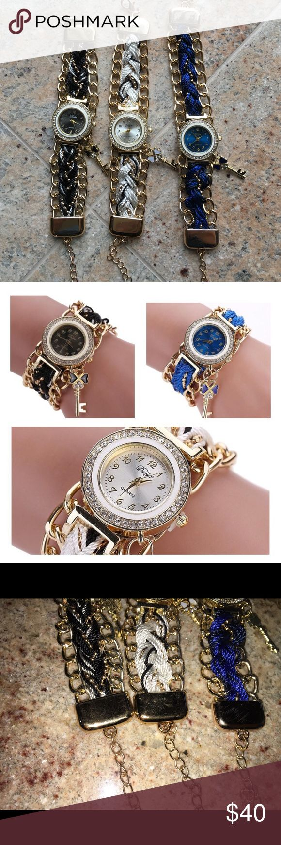 Fashion Rhinestone Keychains Braided Band Watches Fashion Rhinestone Keychains Braided Band Watches. ALL BRAND NEW. NOT USED. All gold with braided color. One black. One blue. One white. Each sold separately. One for $12😊 Or do 2 for $20😊 or all 3 for $25. Comment which one you would like I will gladly create a separate listing for you to purchase😊 picture 3 is factory flaw not noticeable. Accessories Watches