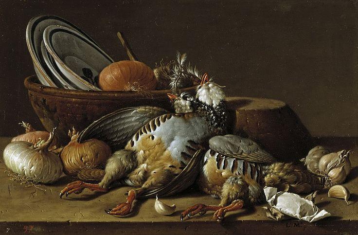 Мелендес, Луис Эгидио -- Натюрморт с двумя куропатками, луком, чесноком и сосудами. Часть 2 Музей Прадо