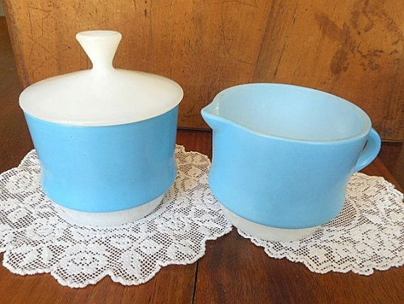 Fire King Creamer & Sugar Bowl Set  Vintage 1950s by MYVINTAGEMOON