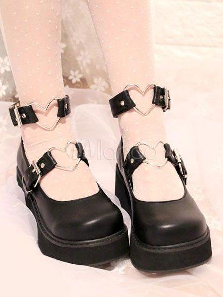9095a85ec568 Sweet Lolita Shoes Black Flatform Heart Shaped Buckle Lolita Pumps  Shoes