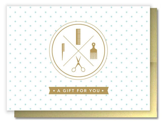 Cute salon gift certificates paired with gold metallic envelopes. #hairsalon #salonstationary