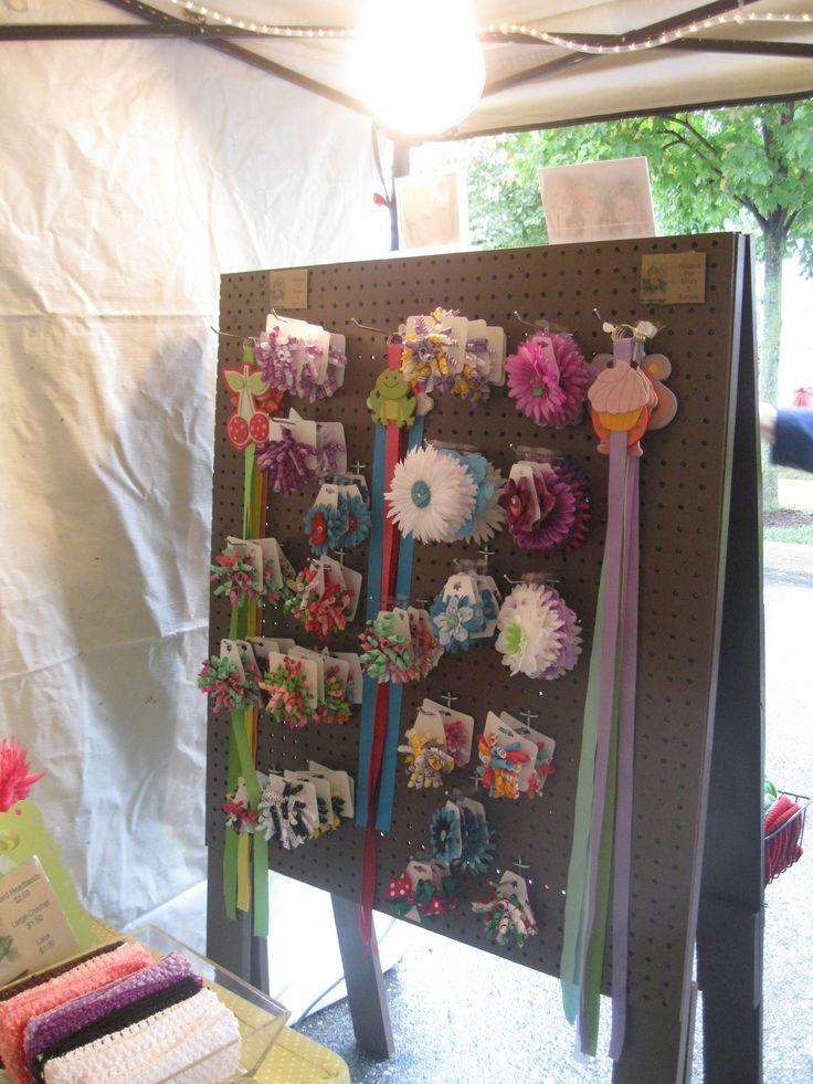 Hair Bow Craft Show display using peg board