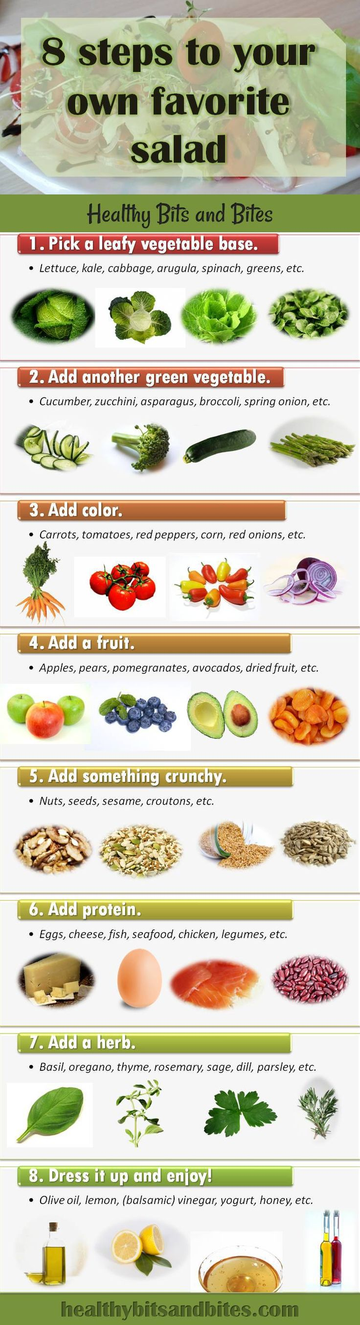 8 steps to your own favorite salad | Healthy Bits and Bites