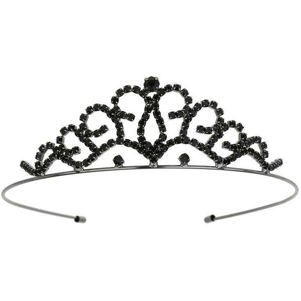 Miss Selfridge Rhinestone Tiara ($29) ❤ liked on Polyvore featuring tops, black, miss selfridge and rhinestone tops