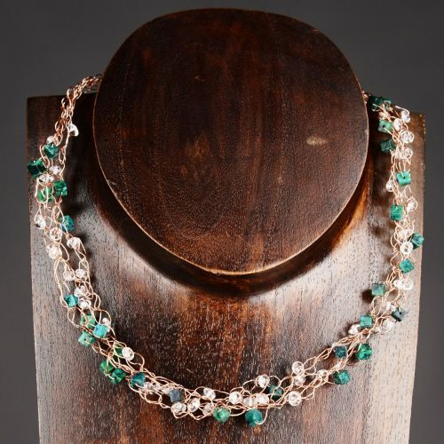 My #handmade copper wire #azurite #chrysocolla and #quartz crocheted necklace  Finished with a handmade hammered copper S hook