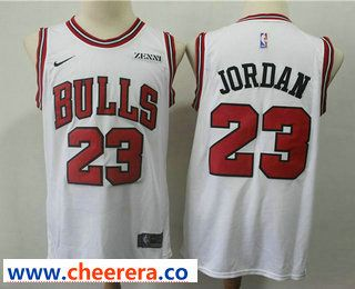 the best attitude fb60f ed26f Men's Chicago Bulls #23 Michael Jordan White With Black Name ...