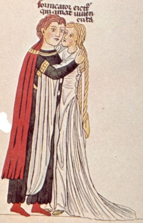 Young lovers from Hortus Deliciarum - which cannot be used as an original source because it's a copy made in the 19th Century. The original burned in a subsequent fire.