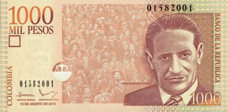 Economy- The image above is of the 1000 mil peso bill. The man on the money is named Jorge Eliécer Gaitán Ayala.  He was a very famous politician in Colombia, and a big part of the liberal party.