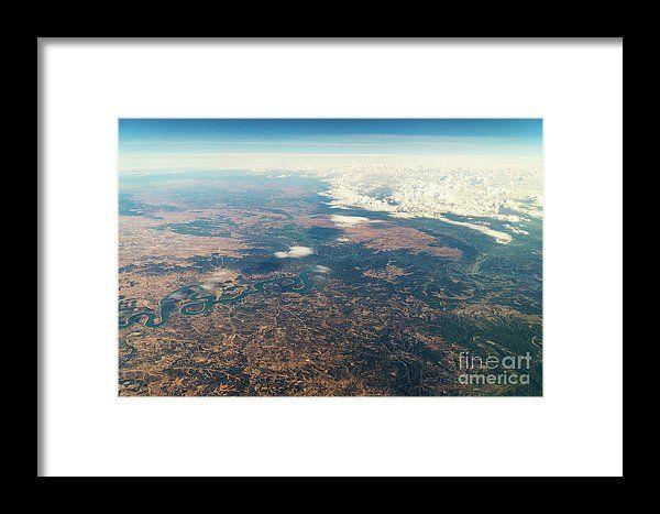 Satellite View Of Planet Earth Horizon Framed Print