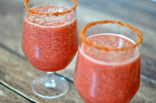 Watermelon & Chia Agua Fresca  Ingredients 4 cups cubed seedless watermelon 1 tablespoon chia seeds 1 teaspoon agave nectar 1 cup ice cold water ½ lime Tajín Clásico Directions 1. Soak 1 tablespoon chia seeds in 1 cup ice-cold water for 20 minutes, stirring occasionally. 2. Blend with 4 cups watermelon and 1 teaspoon agave nectar until smooth. 3. Rim glasses with lime juice and Tajín Clásico 4. Serve chilled.