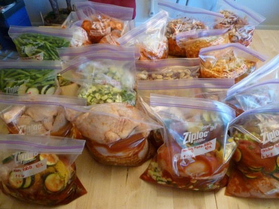34 crock pot meals in one day, gonna put a few of these in the freezer before we leave on our honeymoon and when we drag back in a week later, I don't have to do anything but plug in the slow cooker!