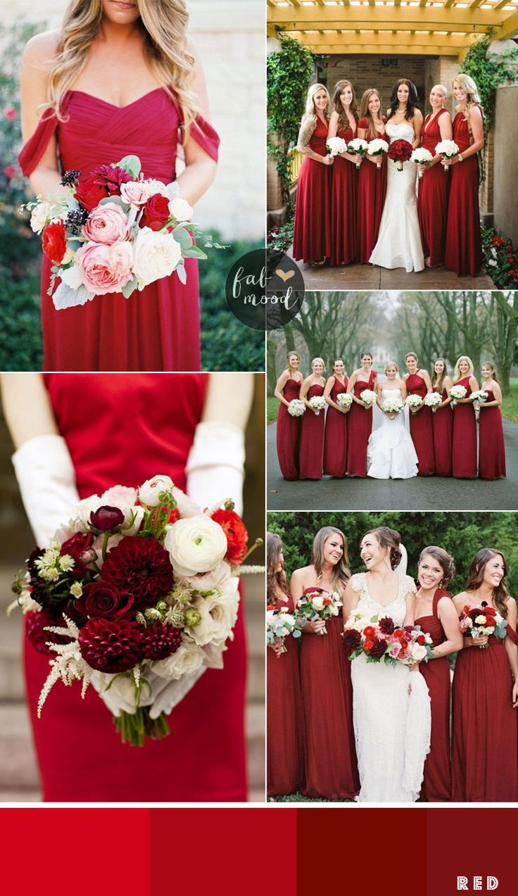 Best 25 red bridesmaid dresses ideas on pinterest red bridesmaids dresses by colour and theme that could work for different wedding motifs ombrellifo Image collections