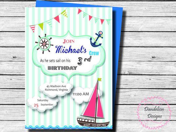 Nautical first birthday invitation sailboat birthday invite