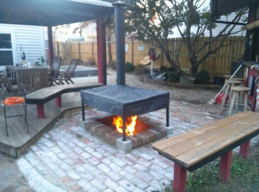 Superb Chimney Over The Firepit. | DIY Projects | Pinterest | Fire Pit Area,  Backyard And Garden