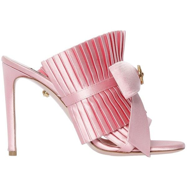 Fausto Puglisi Women 100mm Ruffled Satin Mules W/ Bow ($845) ❤ liked on Polyvore featuring shoes, pink, high heeled footwear, pink high heel shoes, leather sole shoes, high heel shoes and pink bow shoes