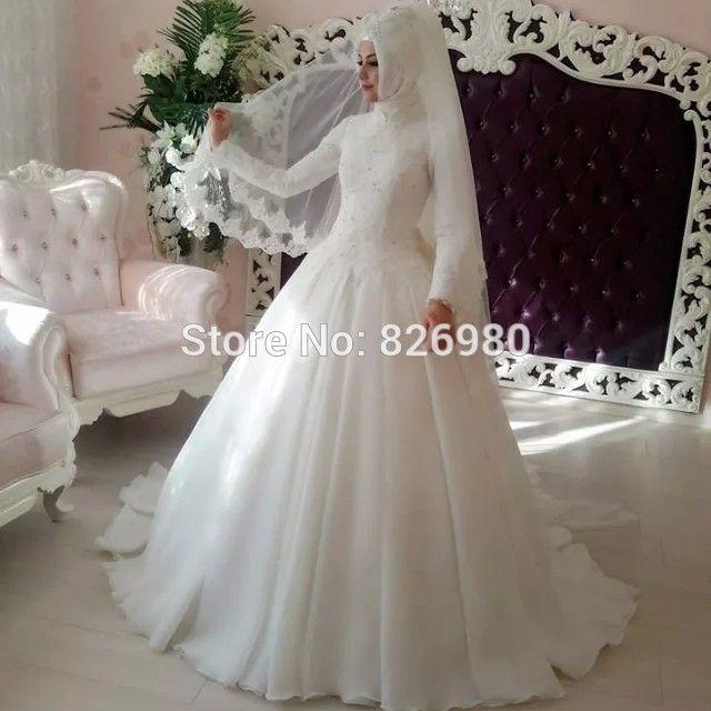 Элегантный Хиджаб Длинные Мусульманин Рукавом Свадебное Платье с Вуалью 2016 Арабский Турецкий Исламский Свадебные Платья Gelinlik Кафтаны Кафтан