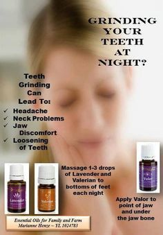 Here are some oils that may help relax your muscles and jaws if you grind or clench your teeth at night. Only use therapeutic grade from Young Living (tag: teeth grinding)