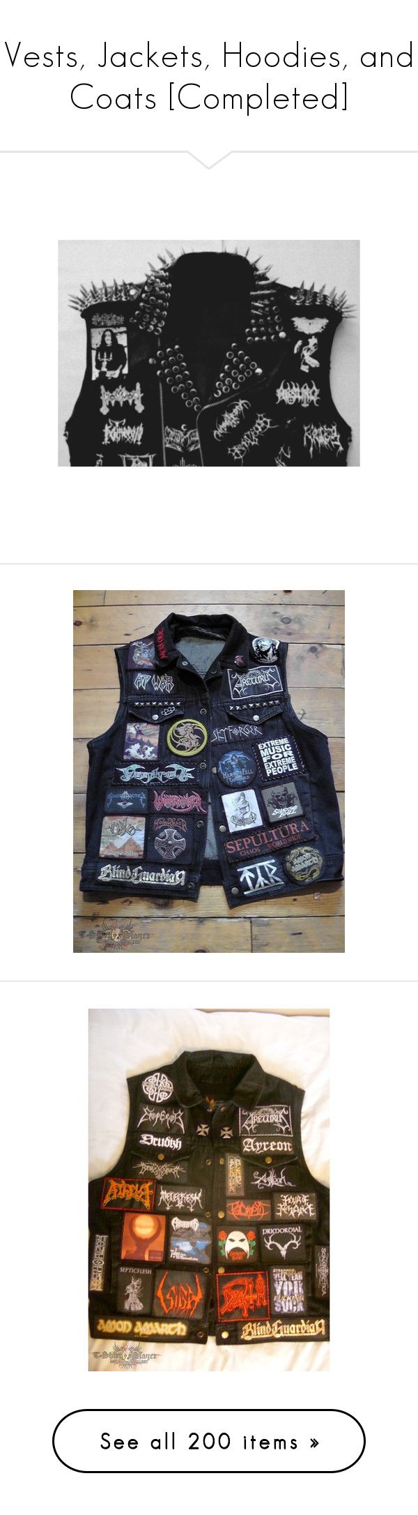 """""""Vests, Jackets, Hoodies, and Coats [Completed]"""" by frozendecembermoon ❤ liked on Polyvore featuring vests, outerwear, blue waistcoat, patch vest, vest waistcoat, metal vest, blue vest, vest, jackets and tops"""
