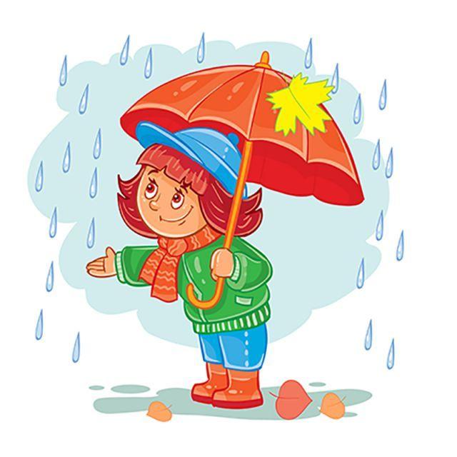 Vector Icono De Niña Pequeña Con Un Paraguas De Pie Bajo La Lluvia Dibujo De Niños Jugando Dibujos Para Niños Manualidades Para Niños Pequeños