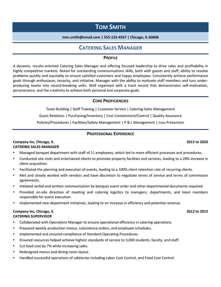 Catering Sales Manager Resume Samples & Template for 2020