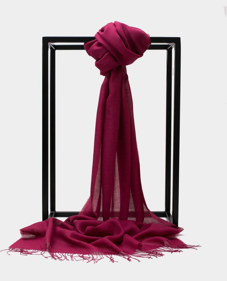 Szal Exclusive Inti Bordowy Shawl Scarf Burgundy 70% BABY ALPACA + 30% SILK Made in Peru