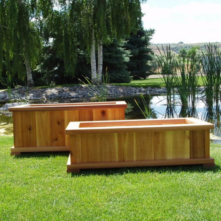 25 best ideas about large wooden planters on pinterest for Wooden garden box designs