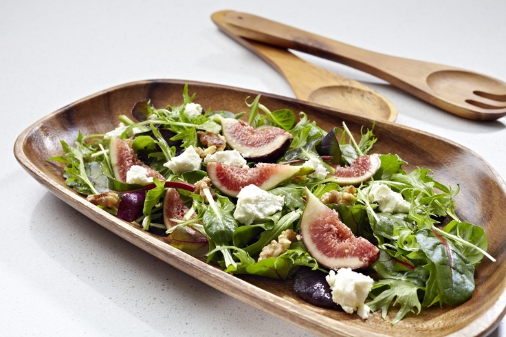 Fig, goats feta, and walnut salad (with lemon and whole grain mustard dressing)