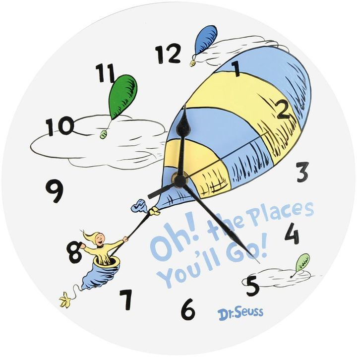 Dr. seuss's oh! the places you'll go! wall clock by trend lab - blue