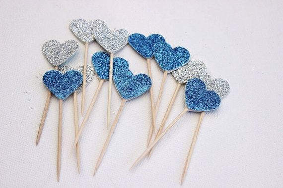 Cupcake Toppers. Blue and Silver Glitter Hearts. Pack of Twelve. Wedding - Engagement - Formal Function