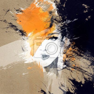 Fotobehang vrouw portret .abstract aquarel Mode-achtergrond