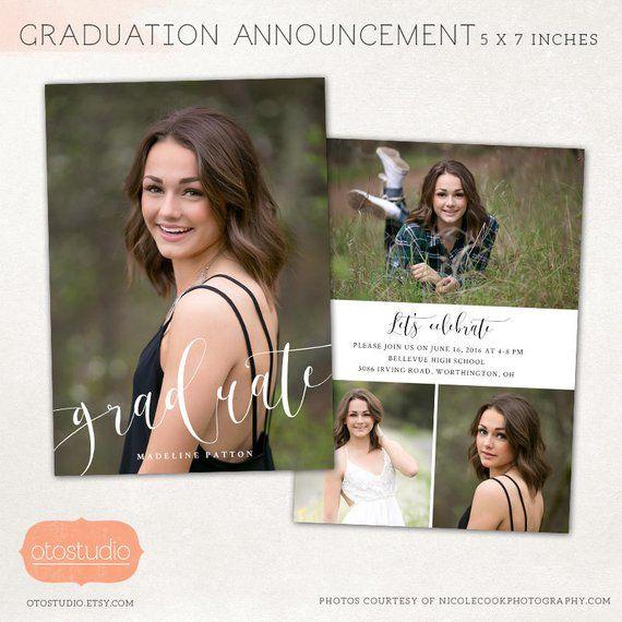 Graduation Announcement Template Senior Card For Photographers Etsy Graduation Card Templates Graduation Announcement Template Graduation Announcements